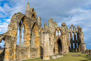 Whitby Abbey North Yorkshire Coast UK. Perched high on a cliff, the haunting remains of Whitby Abbey were inspiration for Bram Stoker's gothic tale of 'Dracula'.