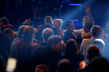 Members of the band Wolf Alice celebrate onstage after being announced winners of the Mercury Prize 2018 at the Hammersmith Apollo in London