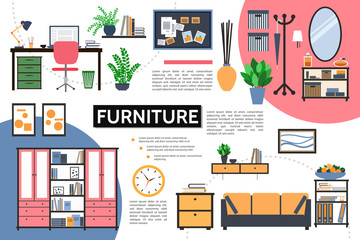 Flat Furniture Infographic Concept