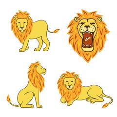 Cartoon lion set. Vector illustration.