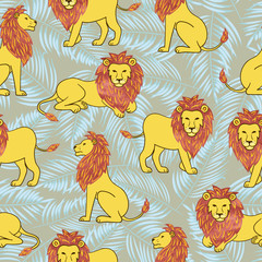 Vector seamless pattern with hand drawn lions.