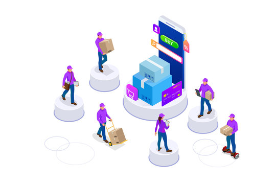 Isometric concept of delivery man and woman in uniform holding boxes and documents in different poses. Collection delivery service workers isolated on white background. Courier or delivery service