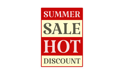 Summer Sale Hot Discount - written on red card on white background