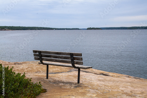 Bench In Parry Sound Ontario Canada Stock Photo And Royalty Free