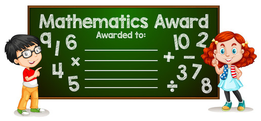 Mathematics award template concept