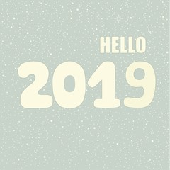 Hello 2019 hand lettering inscription. Winter poster