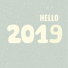 Hello 2019 hand lettering inscription. Winter poster