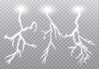 Realistic vector lightning on checkered background. Bright, electric lightning.