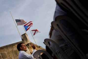 Governor of Puerto Rico Ricardo Rossello delivers remarks during a commemorative event organized by the local government a year after Hurricane Maria devastated Puerto Rico, in San Juan, Puerto Rico