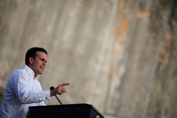 Governor of Puerto Rico Ricardo Rossello delivers remarks during a commemorative event organized by the local government a year after Hurricane Maria devastated Puerto Rico, in San Juan