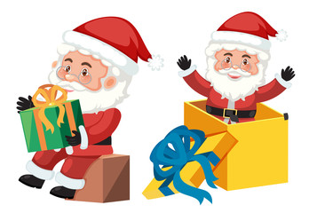 Santa claus and gift box