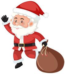 A santa claus holding the bag