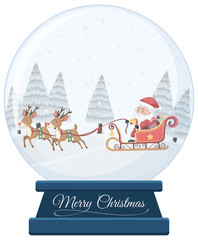 Christmas crystal ball on white background