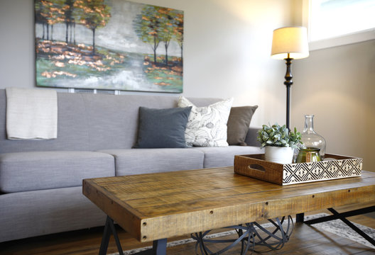 Family room interior with close up of a coffee table