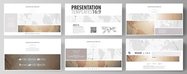 The minimalistic abstract vector illustration of the editable layout of high definition presentation slides design business templates. Global network connections, technology background with world map.