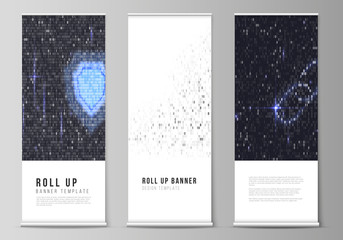 The vector layout of roll up banner stands, vertical flyers, flags design business templates. Binary code background. AI, big data, coding or hacker concept, digital technology background.