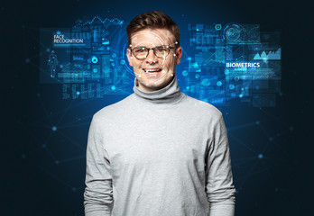 Biometric verification - young man face recognition concept