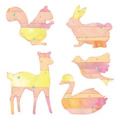 生き物のシルエットのイラスト