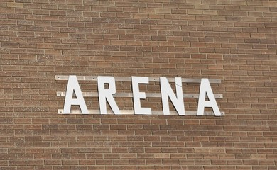 Arena sign outside the building