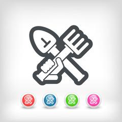 Shovel and rake icon
