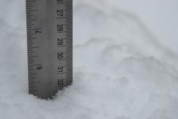 Measurement of snow with metal ruler