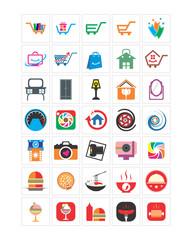 variation mixed food camera shopping image vector icon logo symbol set