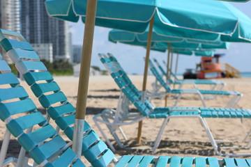 Miami Beach Chaises with Umbrella