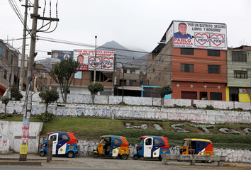 """""""Somos Peru"""" party electoral banners are displayed in the Carabayllo district of Lima"""