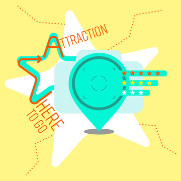 Composition of outline flat icons and typographic design. Tourist attraction concept. Vector illustration.