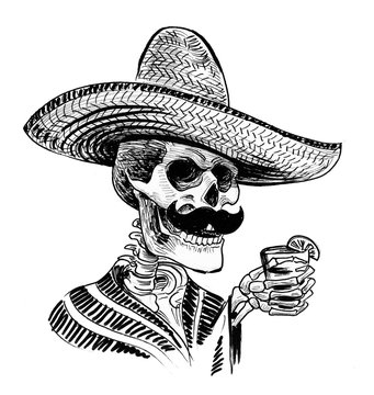 Dead man in sombrero hat with a tequila shot in hand. Ink black and white drawing