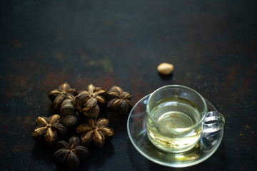 Sacha inchi hot tea in a cup