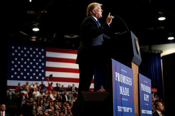 U.S. President Donald Trump speaks during a campaign rally in Las Vegas
