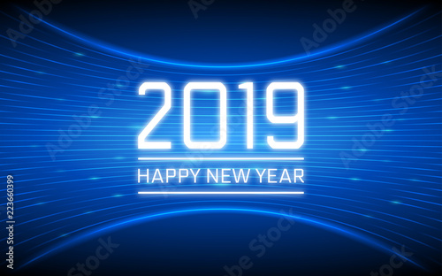 Happy new year 2019 in abstract technology curve lines pattern and glitter on dark blue color - New years colors 2019 ...