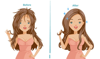 damaged hair of woman. before and after hair care. difference is obvious. comparative, positive and negative emotions. hair is pointed and beautiful long hair. Illustrations for styling and product.