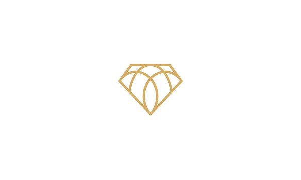abstract diamond line art vector icon logo