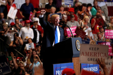 U.S. President Donald Trump speasks at a campaign rally in Las Vegas