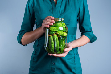Woman Hands Holding Jar Salty Pickles Cucumber
