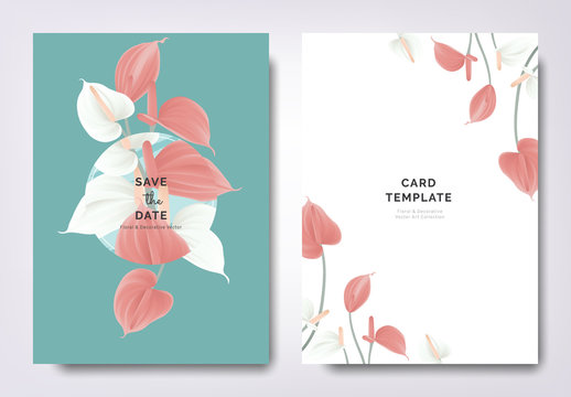 Botanical wedding invitation card template design, white and red Anthurium flowers with circle frame on blue background, minimalist vintage style