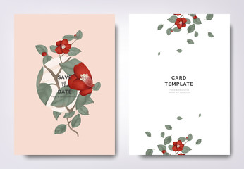 Botanical wedding invitation card template design, red Japanese camellia flowers and leaves with circle frame on orange background, minimalist vintage style
