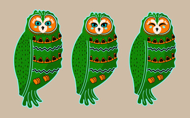 Set of cute bright green boho style indian hand drawn owl characters. Collection of painted owls. Vector illustration