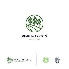 Pine forest logo line art, Iconic Pine tree logo