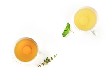 An overhead photo of tea, on a white background with copy space
