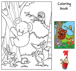 Animals in the forest. Teddy bear, fox, hare, hedgehog and owl. Coloring book. Cartoon vector illustration