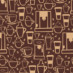 Hand drawn coffee.  Vector  seamless pattern