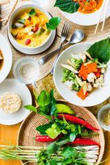 Pad Pak Ruam Mitr Stir Red curry chicken thai