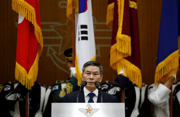 Ingoing Defense Minister Jeong Kyeong-doo speaks during his inaugural ceremony at the Defense Ministry in Seoul