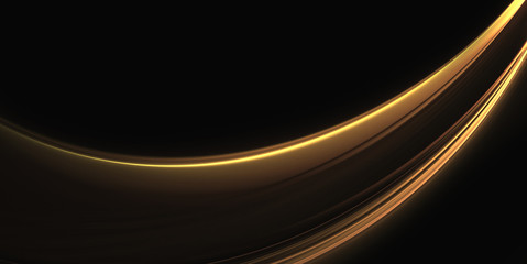 Abstract golden wave on a black background