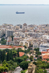 Thessaloniki, Greece - August 16, 2018: Thessaloniki, view of the port and downtown, Greece. Panoramic view of Thessaloniki, Greece.