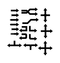 Set of silhouettes of arrows of different kinds and different directions