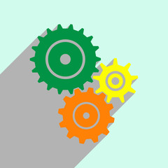 A flat image of three gears for applications and websites, a long shadow